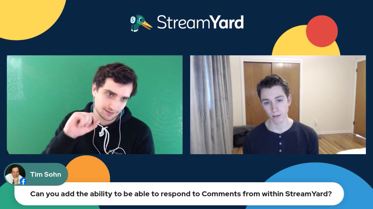 8 Can You Add Ability To Reply To Comments - Streamyard Town Hall 116