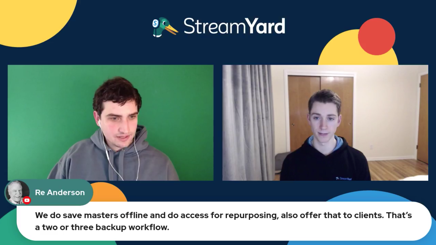 Masters Backup Workflow Streamyard Town Hall Episode 113 Re Anderson