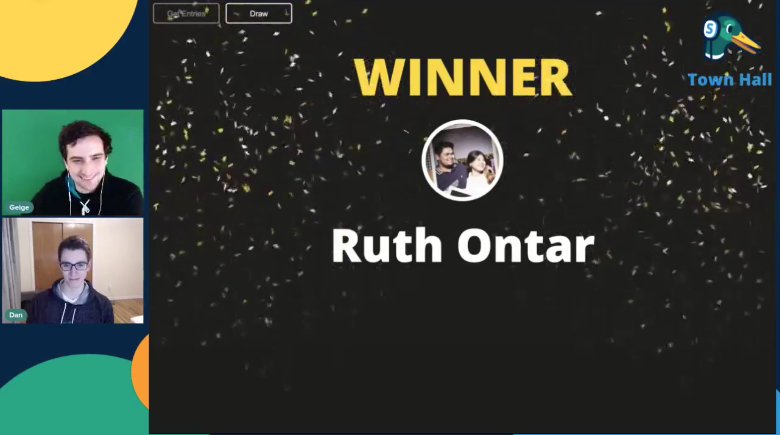 Competition Winner Ruth Ontar Streamyard Town Hall 116